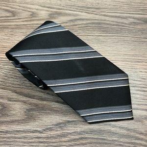 Joseph Jos A Bank Black & Grey Stripe Tie